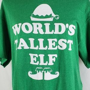 World's Tallest Elf Holiday T-Shirt Size Large